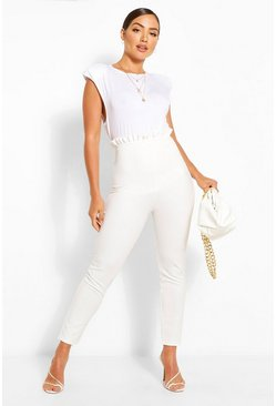 Ivory white Ruffle Elasticated Waist Jogger