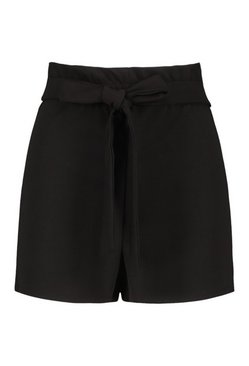 Black Tailored Crepe Paperbag Short