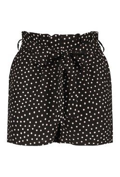 Black Polka Dot Woven Paperbag Shorts