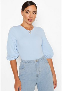 Blue Balloon Sleeve Bodysuit