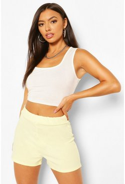 Yellow Tailored Elasticated Waist Shorts