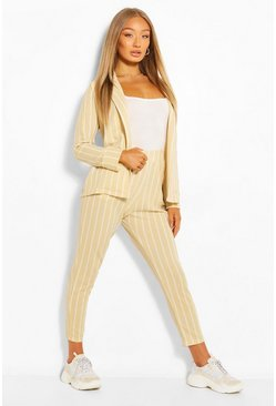 Stone Tonal Stripe Tailored Blazer & Trouser Suit Set