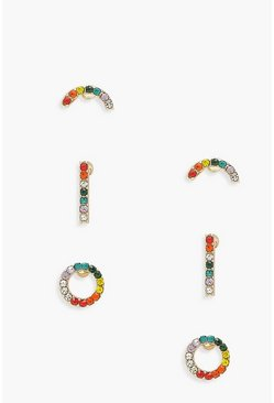 Multi 3 Pack Rainbow Stud Earrings