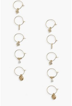 Gold metallic 5 Pack Diamante Pendant Hoop Earrings