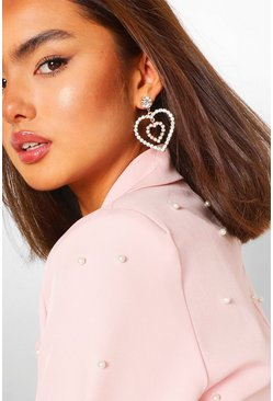 Gold Diamante Heart Statement Earrings