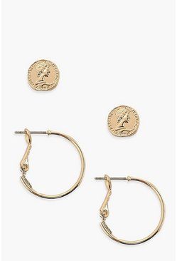 Gold metallic Coin Stud & Simple Hoop Earring 2 Pack