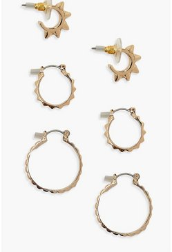 Gold metallic 3 Pack Spike Detail Hoop Earrings