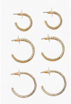 Gold metallic 3 Pack Textured Diamante Hoops