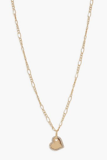 Gold Diamante Heart Pendant Chain Choker