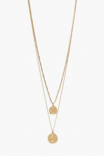 Gold Double Coin Layered Necklace