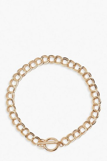 Gold metallic Chunky Chain T-Bar Clasp Necklace