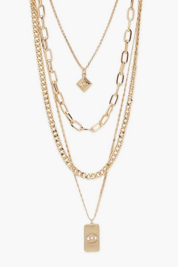 Gold Chunky Chain and Pendant Layered Necklace