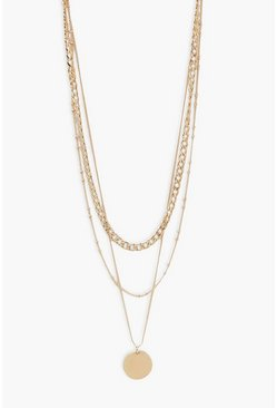 Gold metallic Triple Chain and Disk Layered Necklace