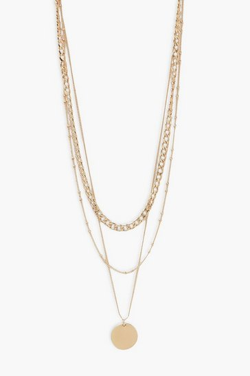 Gold Triple Chain and Disk Layered Necklace