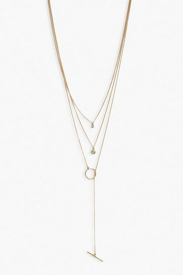 Gold Diamante and T-Bar Drop Layered Necklace