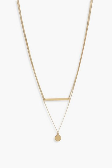 Gold Bar And Coin Layered Necklace