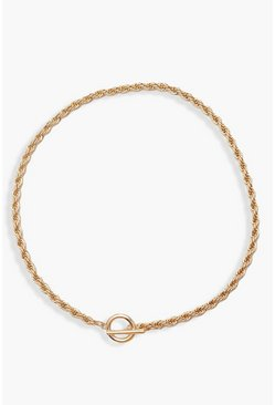 Gold metallic T-Bar Clasp Chain Choker