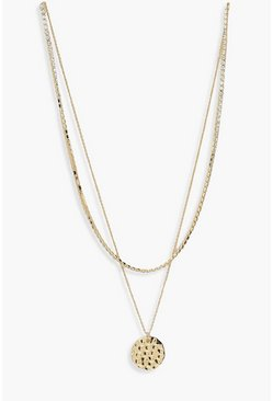 Gold metallic Diamante Chain And Coin Layered Necklace