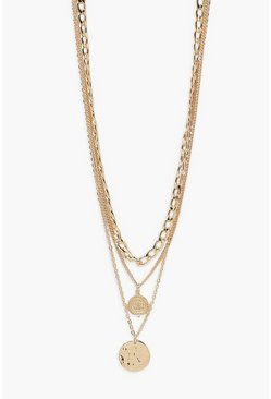 Gold Chain and Coin Layered Necklace