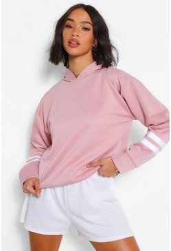 Dusky pink Arm Stripe Detail Oversized Hoody