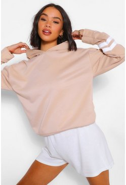 Stone beige Arm Stripe Detail Oversized Hoody