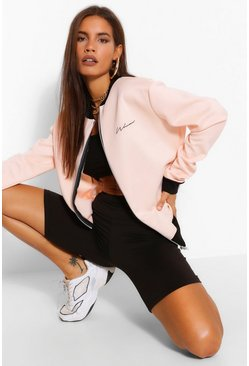 Blush pink Woman Signature Pocket Print Bomber Jacket