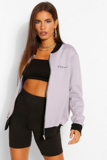 Grey Woman Signature Pocket Print Bomber Jacket