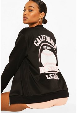 Black California Slogan Back Print Bomber Jacket