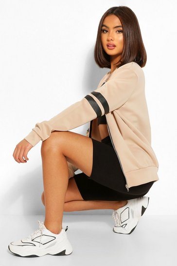 Stone beige Stripe Arm Bomber Jacket