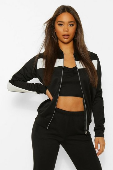 Black Colour Block Arm And Chest Bomber Jacket