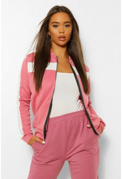 Dusky pink pink Colour Block Arm And Chest Bomber Jacket