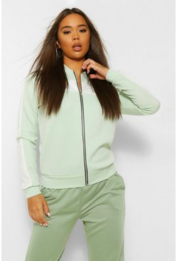 Mint Colour Block Arm And Chest Bomber Jacket
