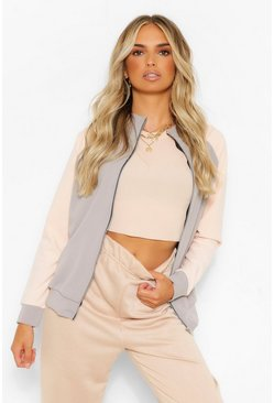 Nude Colour Block Funnel Neck Bomber Jacket