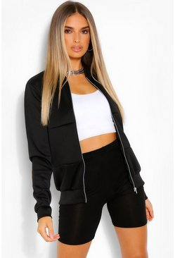 Black Scuba Panelled Bomber Jacket