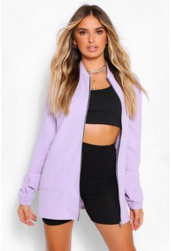 Lilac purple Jersey Crepe Extreme Oversized Pocket Detail Bomber