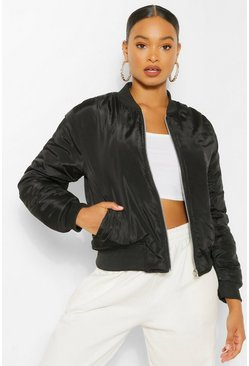Black Lightweight Padded MA1 Bomber Jacket