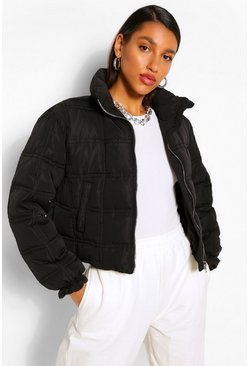 Black Square Quilted Puffer Jacket