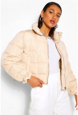 Stone beige Square Quilted Puffer Jacket