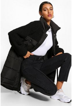 Black Teddy Faux Fur Mix Longline Belted Puffer Jacket