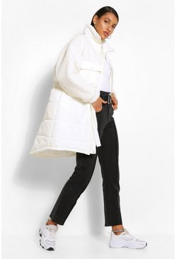 Cream white Teddy Faux Fur Mix Longline Belted Puffer Jacket