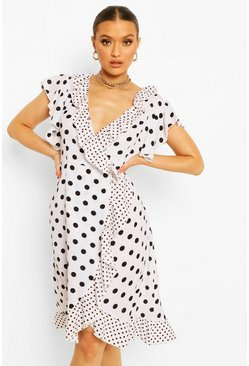 White Mixed Polka Dot Printed Plunge Wrap Midi Tea Dress