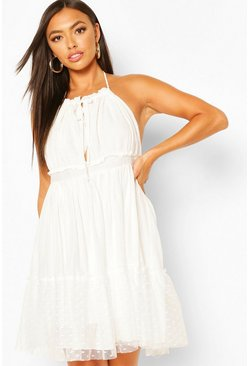 White Strappy Lace Skater Dress