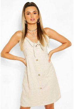 Natural beige Tie Front Button Mini Dress