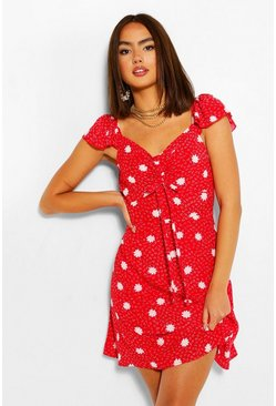 Red Polka Dot Ruffle Skater Dress