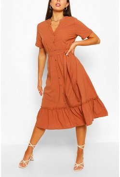 Cinnamon brown Tiered Hem Button Through Midi Dress