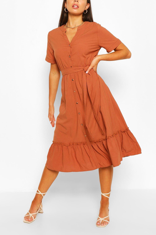 DRESSES Tiered Hem Button Through Midi Dress