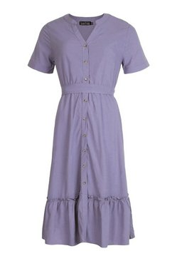 Cornflower Tiered Hem Button Through Midi Dress