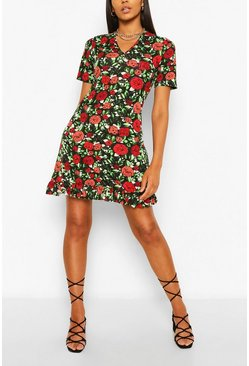 Red Floral Frill Bottom Shift Dress