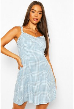 Blue Check Woven Sun Dress