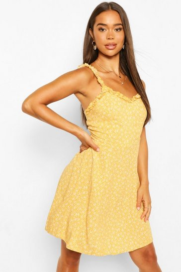 Yellow Ditsy Print Sun Dress